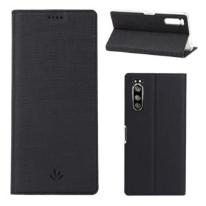 For Sony Xperia 5 ViLi Shockproof TPU + PU Horizontal Flip Protective Case with Card Slot & Holder(Black) (ViLi)