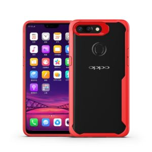 Transparent PC + TPU Full Coverage Shockproof Protective Case for OPPO R15 Pro (Red)