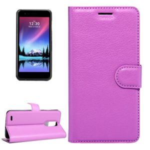 For LG K8 (2017) EU Version Litchi Texture Horizontal Flip Leather Case with Magnetic Buckle & Holder & Card Slots & Wallet(Purple)