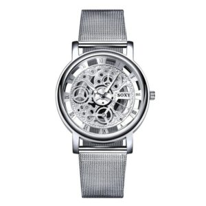 SOXY Fashion Business Skeleton Watch Men Engraving Hollow Quartz Wristwatch Stainless Steel Band Clock(silver)