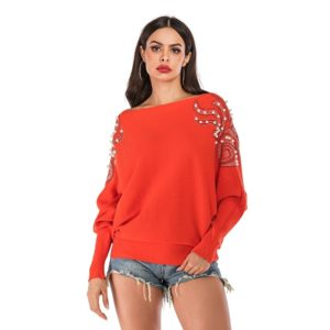 Loose Pure Color Beaded Knit Sweater Coat (Color:Orange Size:M)