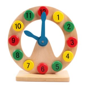 Children Building Blocks Wooden Number matching Geometry Clock Educational Toys, Size: 20.5*20.5*7cm