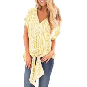 Striped Digital Print Irregular Hem Bat Sleeve Shirt (Color:Yellow Size:S)