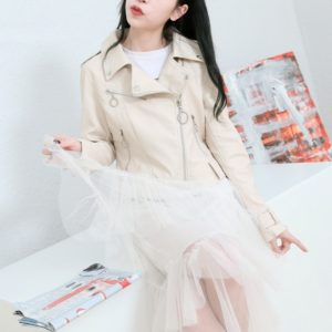 Punk Lapel Women Leather Jacket (Color:Beige Size:S)