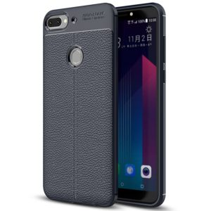 For HTC Desire 12+ Litchi Texture Soft TPU Protective Back Cover Case(Navy Blue)