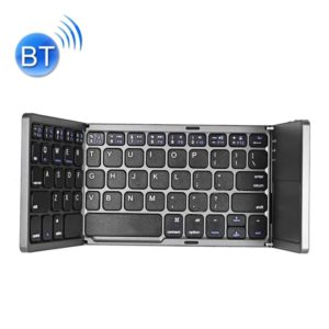 B033 Rechargeable 3-Folding 64 Keys Bluetooth Wireless Keyboard with Touchpad (Black)