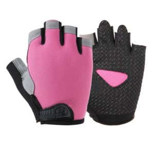 Summer Men Women Fitness Gloves Gym Weight Lifting Cycling Yoga Training Thin Breathable Antiskid Half Finger Gloves, Size:M(Pink)