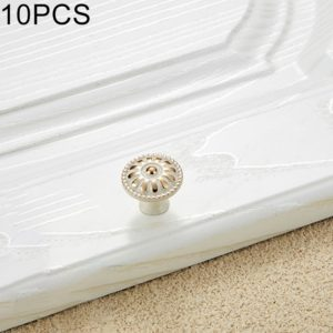 10 PCS 6041-Small Ivory Zinc Alloy Gold Rimmed Cabinet Wardrobe Drawer Door Round Handle