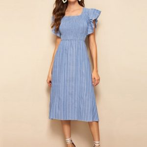 Striped Square Collar Lotus Sleeve Slim Denim Dress (Color:Baby Blue Size:XL)
