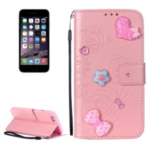 For iPhone 6 Plus & 6s Plus Heart Diamond Encrusted Flowers Embossing Horizontal Flip Leather Case with Holder & Card Slots & Wallet & Lanyard(Pink)