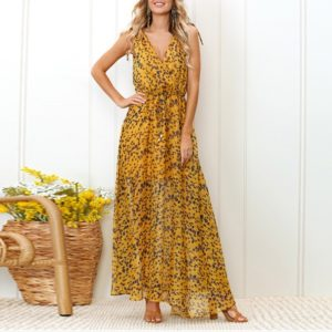 Sling Deep V-Neck Leopard Dress (Color:Yellow Size:L)
