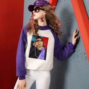 Lamb Hair Beaded Loose Thin Thick Sweater (Color:Purple Size:L)