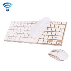 HK3910 2.4GHz Wireless 78 Keys Metal Ultrathin Keyboard with Keyboard Cover + Wireless Optical Mouse with Embedded USB Receiver for Computer PC Laptop(Gold)