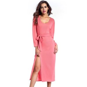 Fashionable Low-cut Wide Waist Knit Dress (Color:Pink Size:L)