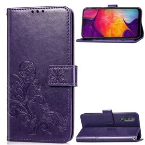 Lucky Clover Pressed Flowers Pattern Leather Case for Galaxy A50, with Holder & Card Slots & Wallet & Hand Strap (Purple)
