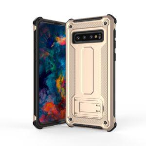 Ultra-thin Shockproof PC + TPU Armor Protective Case for Galaxy S10+, with Holder (Gold)