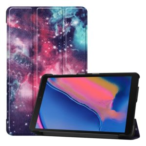 Custer Texture Galaxy Pattern Colored Drawing Horizontal Flip Leather Case for Galaxy Tab A 8.0 (2019) P205 / P200, with Three-folding Holder
