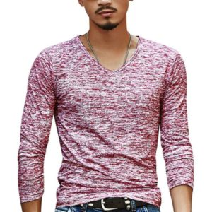 Slim Streetwear V-neck T Shirt Casual Fitness Tops Long Sleeve Pullover Shirt for Men(Red)