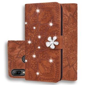 For Huawei Y7 Pro (2019) Calf Pattern Diamond Mandala Double Folding Design Embossed Leather Case with Wallet & Holder & Card Slots(Brown)