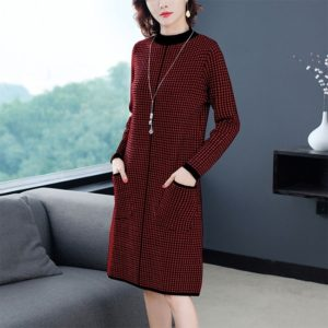 Half Turtleneck Pullover Long Section Bottoming Knit Dress (Color:Red Size:S)
