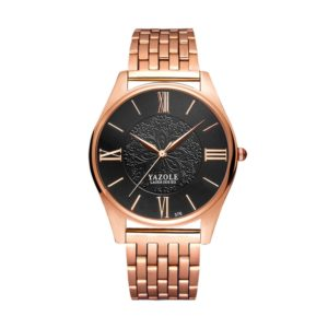 YAZOLE 376 Men Fashion Business Steel Strap Band Quartz Wrist Watch (Black) (YAZOLE)