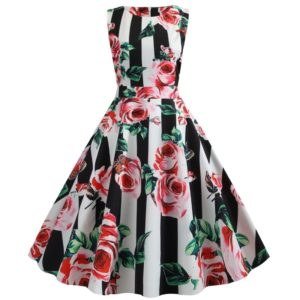Retro Style Print Slim Big Swing Dress (Color:Red Size:S)