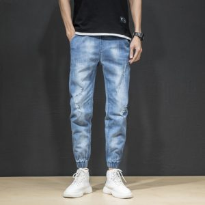 Spring and Summer of The Trend of Casual Wild Self-cultivation Stretch Nine Points Jeans, Size: 32(Light Blue )
