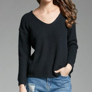V-neck Pullover Personalized String Sexy Sweater, Size: XL(Navy Blue)