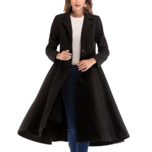 Woolen Coat Single-breasted Long-sleeved Large Woolen Coat (Color:Black Size:XL)