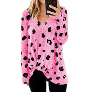 V-neck Long-sleeved T-shirt Top (Color:Pink Size:XXL)