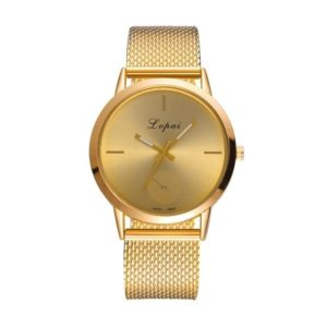 lvpai Ladies Simple Quartz Mesh Belt Watch(Gold)