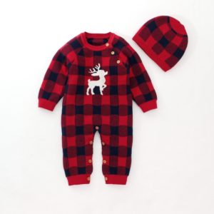 Long-sleeved Leotard Baby Siamese Romper Climbing Clothes Suit (Color:Red Size:80cm)