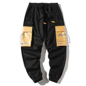 Loose Multi-pockets Pants Hip-hop Casual Overalls for Men (Color:Black Size:XXL)