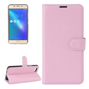 For ASUS ZenFone 3s Max (ZC521TL) Litchi Texture Horizontal Flip Leather Case with Holder & Card Slots & Wallet(Pink)