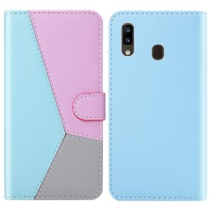 For Galaxy A20 Tricolor Stitching Horizontal Flip TPU + PU Leather Case with Holder & Card Slots & Wallet(Blue)