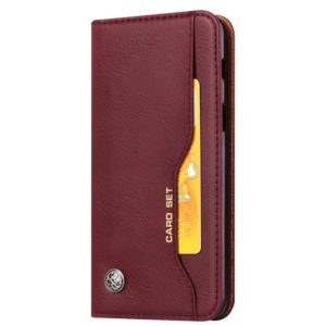 Knead Skin Texture Horizontal Flip Leather Case for Galaxy A8 2018, with Photo Frame & Holder & Card Slots & Wallet(Wine Red)