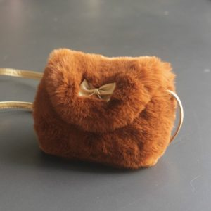 Cute Princess Girl Mini Cross body Bag Fashion Bowknot Imitation Fur Shoulder Messenger Bag Purse(Caramel Colour)