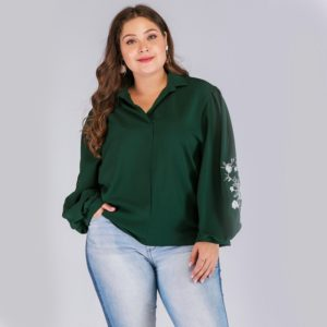 Plus Size Women Print Embroidered Lantern Sleeve V-Neck Long Sleeve Blouse (Color:Green Size:XL)