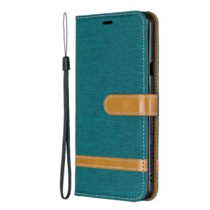 Color Matching Denim Texture Leather Case for LG Stylo 5, with Holder & Card Slots & Wallet & Lanyard(Green)