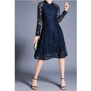 Fashion Vintage Elegant Lace Dress (Color:Blue Size:S)