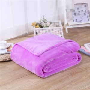 Solid Color Flannel Coral Fleece Blanket Super Soft Plaid Coverlet Sofa Cover Winter Warm Sheets Easy Wash Faux Fur Blankets, Size:180x200cm(Purple)