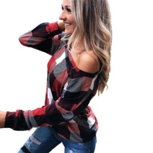 Off-the-shoulder Plaid Slim Long-sleeved Top (Color:Red Size:XXXXL)