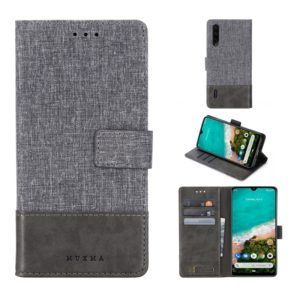 For Xiaomi Mi A3 MUXMA MX102 Horizontal Flip Canvas Leather Case with Stand & Card Slot & Wallet Function(Grey) (MUXMA)