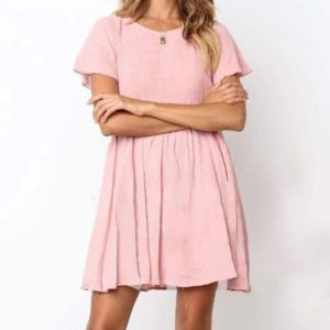 Solid Color Fresh Casual Comfortable Cotton Linen Dress (Color:Pink Size:M)