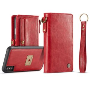 CaseMe Detachable Horizontal Flip Leather Case for iPhone XS Max, with Card Slot & Strap & Wallet & Photo Frame (Red) (CaseMe)