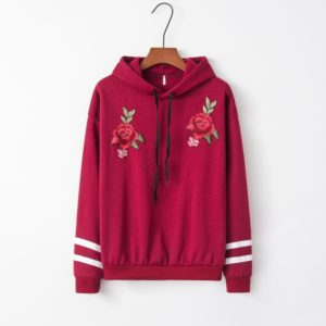 Hooded Long Sleeve Casual Loose Rose Embroidered Sweatshirt (Color:Wine Red Size:L)