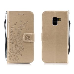For Galaxy A8 (2018) Plum Flowers Pattern Horizontal Flip Leather Case with Holder & Card Slots & Wallet & Lanyard(Gold)