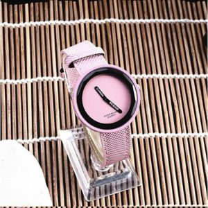 Simple Style Round Dial Matte Leather Strap Quartz Watch for Men / Women(Pink)