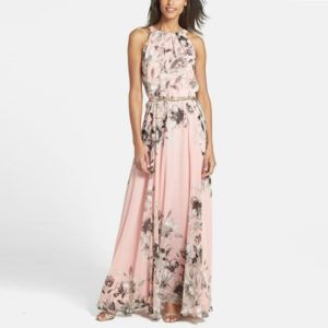 Printed Waistband Long Dress (Color:Pink Size:S)