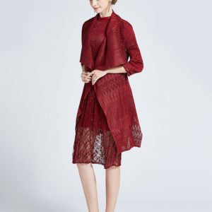 Fashion Lace Hollow Thin Cloak Shawl Cardigan Jacket And Long Sections (Color:Wine Red Size:One Size)